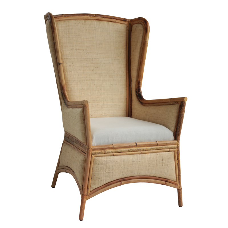 Moderne Maru Chair – Island Naturals Wing Upholstered w/Saguran Fabric