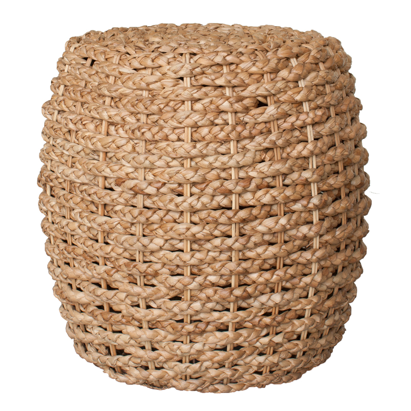 Moderne Maru Island Naturals Ottoman Braided Leaf Barrel Natural