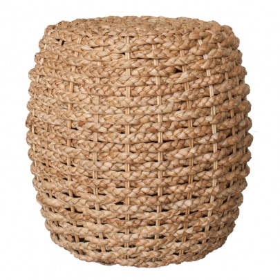 NAT302 Ottoman Braided Leaf Barrel Natural